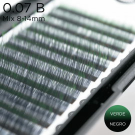 0.07 B-curvature lashes Ombre Lashes black-green
