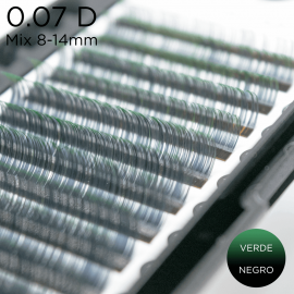0.07 D-curvature eyelashes Ombre biocolor black-green