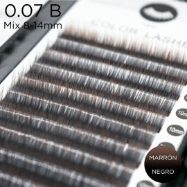 0.07 B-curvature eyelashes Ombre biocolor black-brown